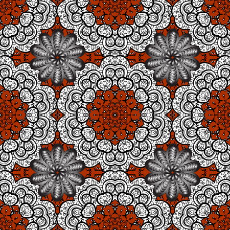 Christmas color snowflake seamless pattern. Colorful snowflakes on black, white and gray colors. Winter snow texture wallpaper. Symbol holiday, New Year celebration vector pattern with elements.