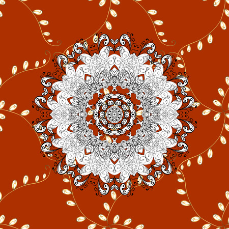 Seamless oriental classic golden pattern. Vector abstract background with repeating elements on orange, white and black colors. Vector illustration.