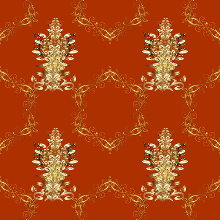 Vintage seamless pattern on a orange, brown and beige colors with golden elements. Illustration
