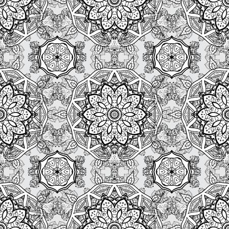 Ornament white, black and gray colored card with mandala. Tribal, Boho, Bohemian style. Kaleidoscope, medallion, yoga, india, arabic. Geometric circle vector element. 向量圖像