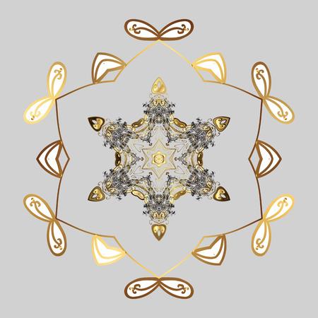 winter snowflake Freehand artistic ethnic Vector illustration.