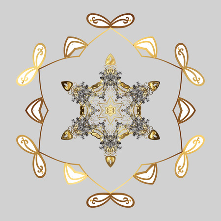 winter snowflake Freehand artistic ethnic Vector illustration.