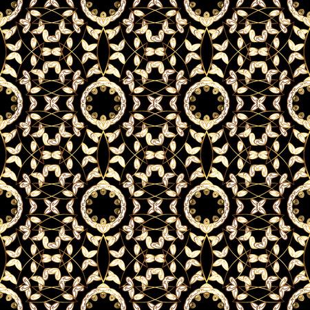 mandala flowers golden ornaments seamless pattern background vector illustration.