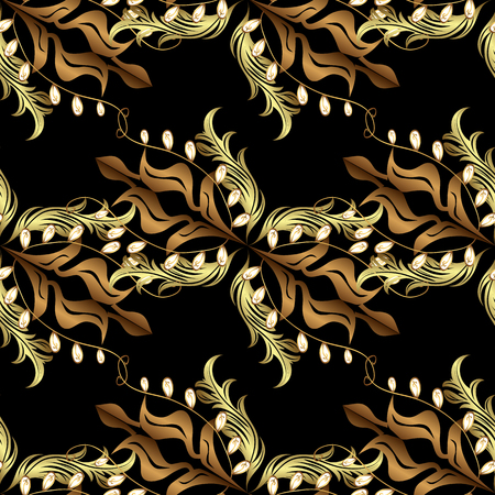 Golden pattern on black and yellow colors with golden elements. Vettoriali