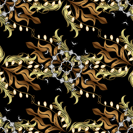 Damask seamless pattern repeating background.