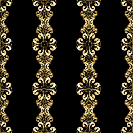 Gold floral ornament in baroque style. Antique golden repeatable wallpaper.