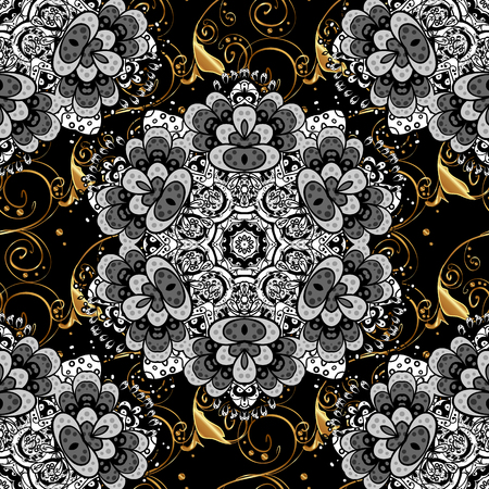 Vector abstract floral wreath from golden doodle fantasy leaves and flower on a black, gray, white colors.