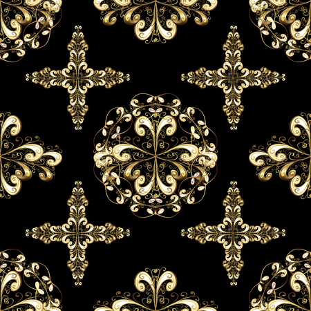 A golden pattern on black and yellow colors with golden elements. Иллюстрация