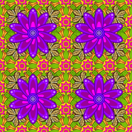 Tropical flowers. Flowers on green, yellow and purple colors. Shirt seamless Background Pattern.