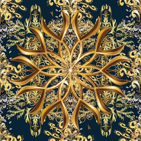 Golden ornamental tracery design in eastern style illustration. 일러스트
