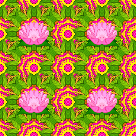 Vintage vector floral seamless pattern in colors. Çizim