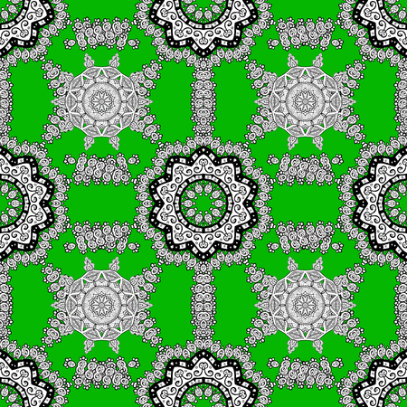 Colored round floral mandala on a green, white and gray colors. 일러스트