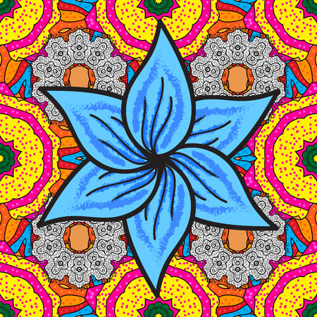 Ornament invitation card Vintage decorative elements on a blue, yellow and magenta colors. Tribal, Boho, Bohemian style, for flash tattoo. Vector colored Mandala.