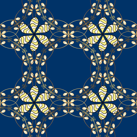 Vector vintage baroque floral seamless pattern in gold. Golden pattern on a blue, yellow and white colors with golden elements. Ornate decoration. Luxury, royal and Victorian concept. Illustration