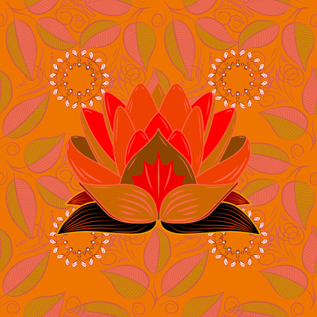 In Asian textile style Vector illustration. Colour Spring Theme seamless pattern Background in Flat Flower Elements Design. Vettoriali
