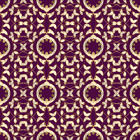 Flat hand-drawn vintage pattern on purple, white and brown colors with golden elements for backdrop, fabric, gold wallpaper uses.