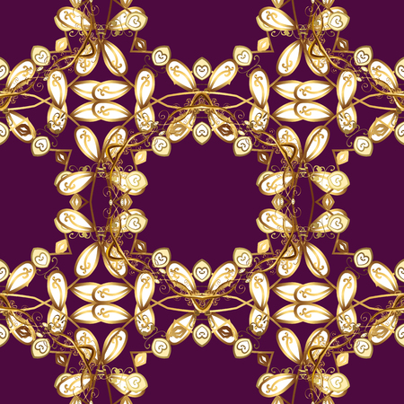 Golden pattern on purple, white and brown colors with golden elements. Seamless golden pattern. Vector oriental ornament.