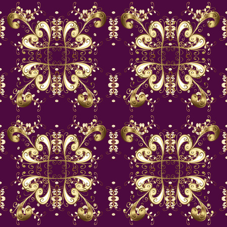 Seamless pattern oriental ornament. Vector golden textile print. Golden pattern on purple, brown and beige colors with golden elements. Islamic design. Floral tiles. Vettoriali