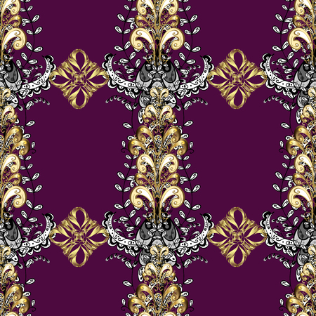 Vintage design element. Golden ornate illustration for wallpaper. Ornamental lace tracery. Traditional arabic decor on purple, black and white colors. Vector seamless pattern with floral ornament.