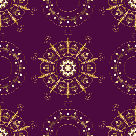 Floral ornament brocade textile pattern, glass, metal with floral pattern on purple, brown and beige colors with golden elements. Classic vector golden seamless pattern. Illustration