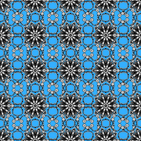 Doodle blue, gray and black floral ornament in baroque style. Doodles element on blue, gray and black colors. Damask background. Seamless pattern. Doodles floral wallpaper. 矢量图像