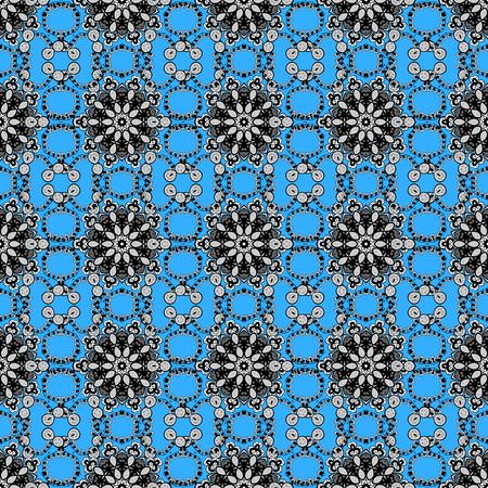 Doodle blue, gray and black floral ornament in baroque style. Doodles element on blue, gray and black colors. Damask background. Seamless pattern. Doodles floral wallpaper. Ilustração