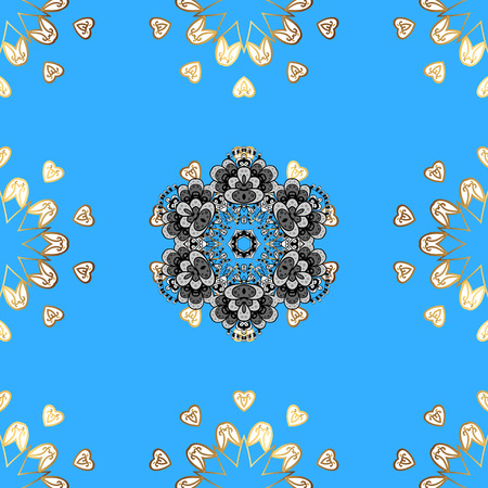 Seamless pattern on blue, white and gray colors with golden elements. Seamless classic vector golden pattern. Traditional orient ornament, classic vintage background.