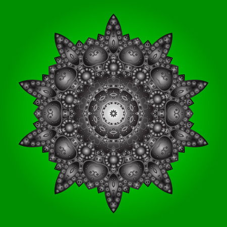 Snowflakes radial green, gray and brown colors. Isolated nice snowflakes on colorful background.Vector illustration.