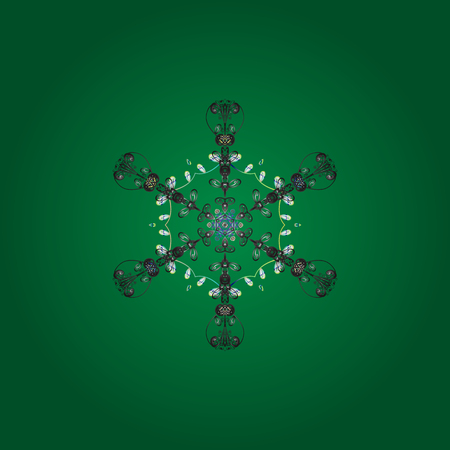 Snowflake simple. Symbol of winter, Merry Christmas holiday, Happy New Year celebration Vector illustration. Cute snowflake on green, gray and white colors. Abstract wallpaper, wrapping decoration. Illustration