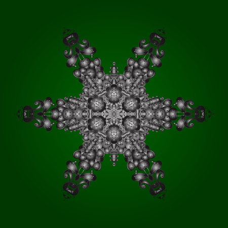 Isolated cute snowflakes on colorful background. Vector illustration. Green, gray and brown colors with snowflakes. Illustration