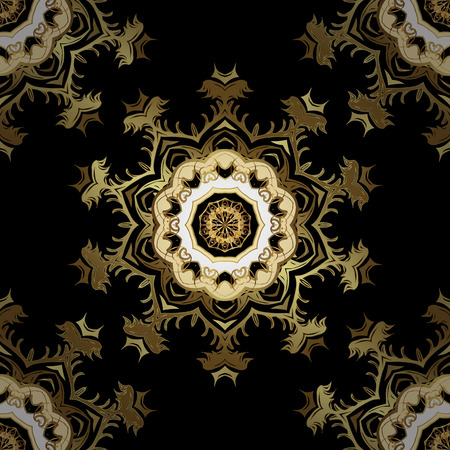 Vector golden floral ornament brocade textile and glass pattern. Black and yellow colors with golden elements. Gold metal with floral pattern. Seamless golden pattern. Illustration