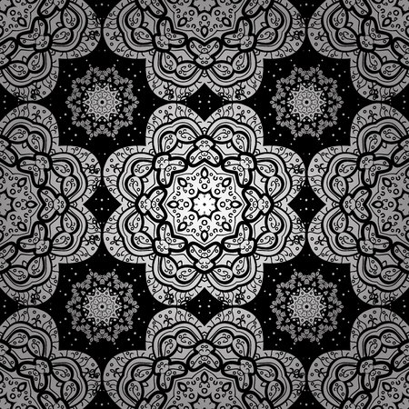 Bohemian decorative element, indian henna design, vector retro circle ornament. Mandala, tribal vintage sketch with a medallion on black, white, gray colors. Pattern with art flower for Tibetan yoga. 일러스트