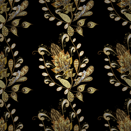 Seamless abstract background. Vector illustration. Oriental vector classic black and yellow and golden pattern.
