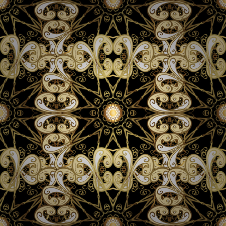 Gold ornamental pattern on black and yellow colors.