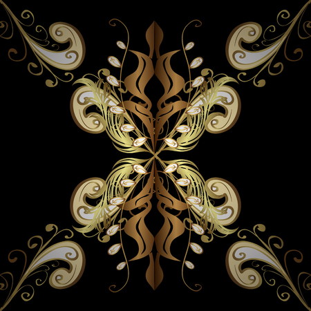 Classic vector golden seamless pattern. Floral ornament brocade textile pattern, glass, metal with floral pattern on black and yellow colors with golden elements.