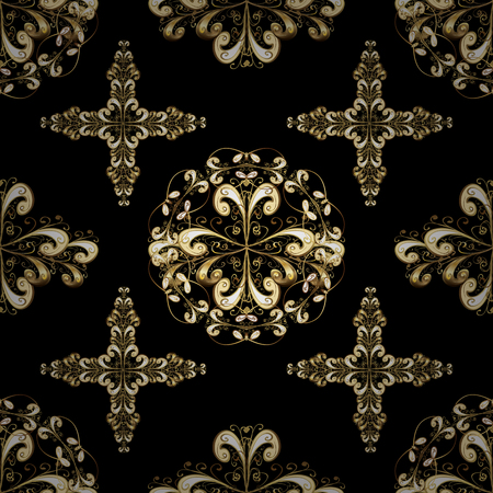 Ornate vector decoration. Golden element on black and yellow colors. Luxury, royal and Victorian concept.