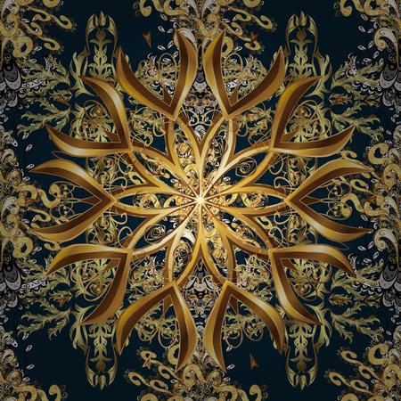 Oriental style arabesque golden pattern.