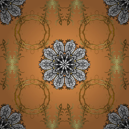 Seamless floral pattern with flowers on orange, black and brown colors. Illustration