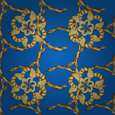 Vector traditional orient ornament. Golden pattern on blue, yellow and brown colors with golden elements. Seamless classic golden pattern.