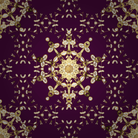 Vector golden floral ornament brocade textile and glass pattern. Seamless golden pattern. Purple, brown and white colors with golden elements. Gold metal with floral pattern. Çizim