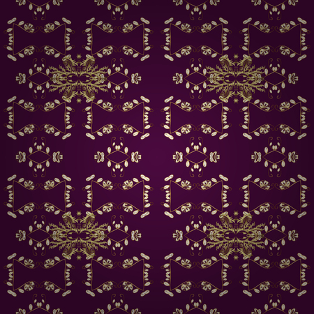 Damask seamless ornament. Traditional vector and golden pattern. Classic oriental pattern over purple, brown and white colors.