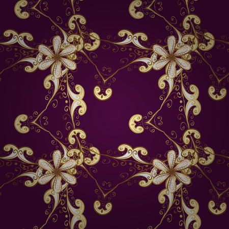 Vector illustration. Oriental vector classic purple, beige and brown and golden pattern. Seamless abstract background.