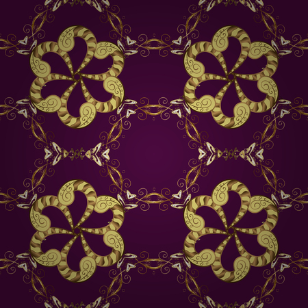 Brilliant lace, stylized flowers, paisley. Vector. Seamless golden texture curls. Oriental style arabesques. Openwork delicate pattern. Seamless pattern on purple, yellow colors with golden elements.