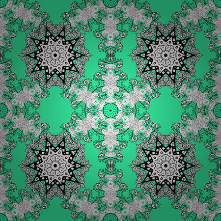 Traditional classic vector doodles seamless pattern. Green, white and black colors with doodles elements. Seamless oriental ornament in the style of baroque.