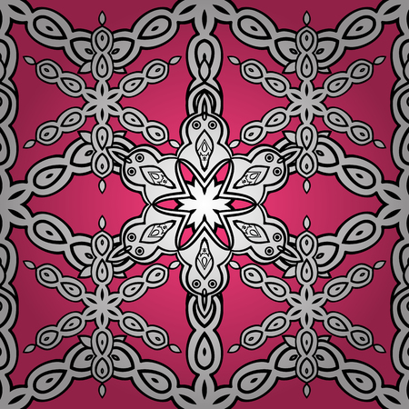 Vector colored snowflakes design decorative Christmas element on a white, pink and black colors.