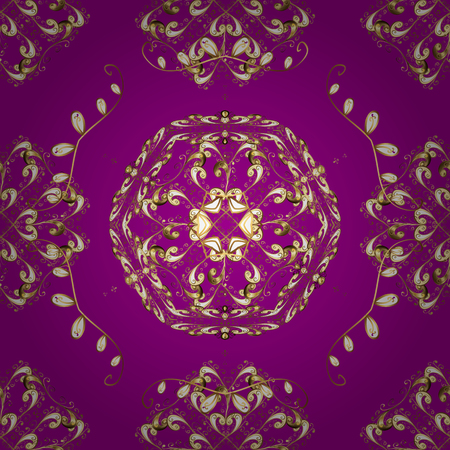 Golden pattern on purple, beige and brown colors with golden elements. Vector oriental ornament. Traditional classic golden pattern. Seamless oriental ornament in the style of baroque. Векторная Иллюстрация