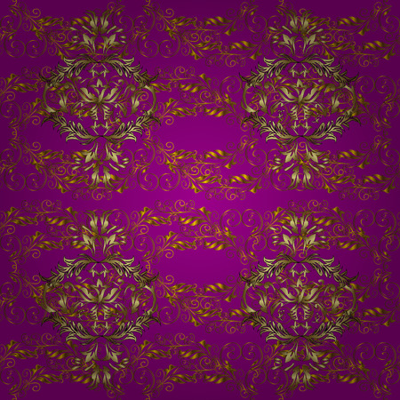 Golden pattern on purple, brown and yellow colors with golden elements. Seamless classic golden pattern. Vector traditional orient ornament.