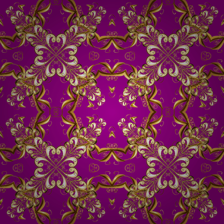 Seamless royal luxury golden baroque damask vintage. Vector seamless pattern with gold antique floral medieval decorative, leaves and golden pattern ornaments on purple, brown and beige colors.