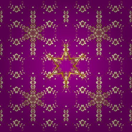 Christmas, snowflake, new year 2018. Seamless vintage pattern on purple, white and brown colors with golden elements.