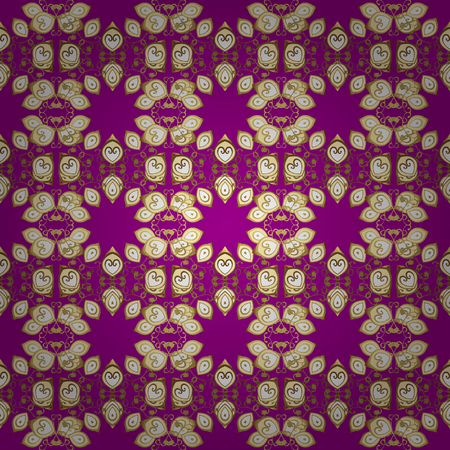 Graphic modern seamless pattern on purple, beige and brown colors. Seamless floral pattern. Seamless vector background. Wallpaper baroque, damask.